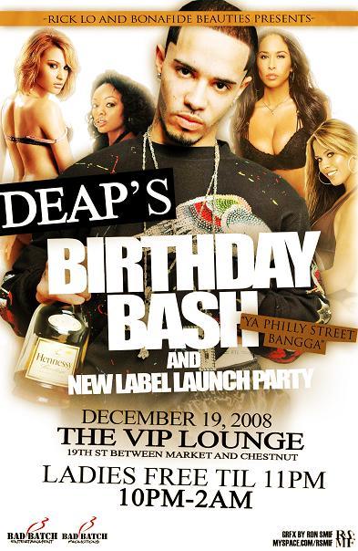 deap birthday bash flyer