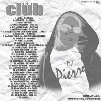 DJ PIERRE - CLEAN CLUB BACK COVER
