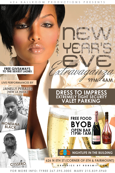 NEW YEARS EVER PARTY FLYER BACK