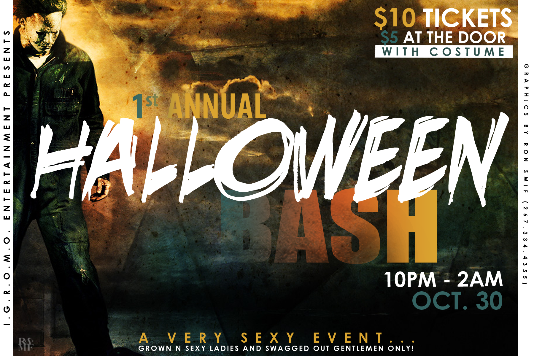 RO HALLOWEEN PARTY FLYER FRONT | Ronald Smith Art