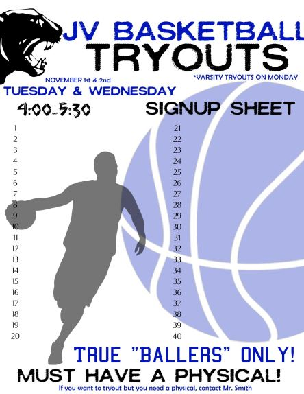 BASKETBALL - JV TRYOUTS SIGNUP POSTER